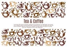 Kaffeaffisch med koppar och kokkärl stock illustrationer