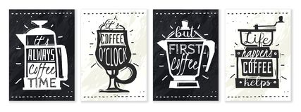 Kaffeaffischupps?ttning stock illustrationer