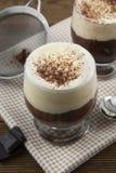Kaffeaffogato med vaniljglass och espresso Exponeringsglas med kaffedrinken och icecream arkivfoton