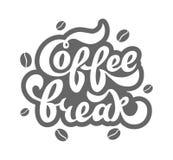 Kaffeavbrott - handskriven bokstäver för restaurangen, kafémeny, shoppar Royaltyfri Bild