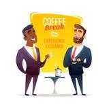 Kaffeavbrott på affärskonferens Två affärsmän som tillsammans står och att dricka kaffe och samtal eller, diskuterar något vektor illustrationer