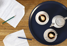 Kaffeavbrott under affärstid Fotografering för Bildbyråer