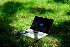 Kaffeavbrott utomhus oklarheter ?ver vita parksommartrees Arbeta och koppla av i naturlig miljö Dess kaffetid Bort kaffetagande B arkivfoton