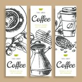 Kaffebönor, grillat kaffe, baner för vektor för hand för bakgrundsfärgpulver utdragna ny turk för kaffe royaltyfri illustrationer