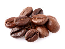 Kaffebönor i closeup Fotografering för Bildbyråer