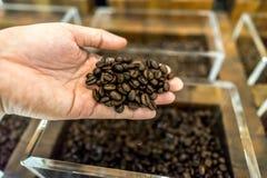 Kaffebönor i en mans hand och behållare i bakgrunden Arkivfoto