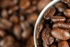 Kaffebönor i ett exponeringsglas Arkivfoton
