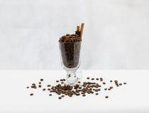 Kaffebönor i exponeringsglas sköt på vit bakgrund Fotografering för Bildbyråer