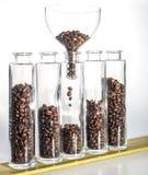 Kaffebönor i fem flaskor Royaltyfri Foto