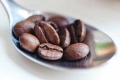 Kaffebönor i kaffesked på vit Royaltyfria Bilder