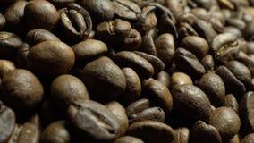 Kaffebönor i rotation arkivfilmer