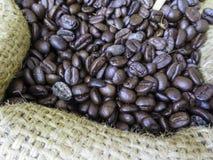 Kaffebönor i säck Royaltyfri Foto