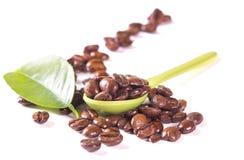 Kaffebönor i skeden Fotografering för Bildbyråer