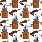 Kaffebönor, kaffekvarn, kaffeskopa, sömlös modell royaltyfri illustrationer