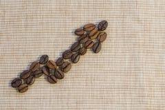 Kaffebönor läggas ut som en graf som stiger upp på en beige servett royaltyfri bild