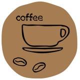 Kaffebönor med en koppsymbol Arkivbild