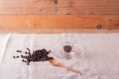 Kaffebönor och ögonblickligt kaffe i kopp Royaltyfria Bilder