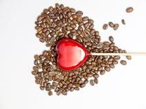 Hjärta- och kaffebönor Arkivbild