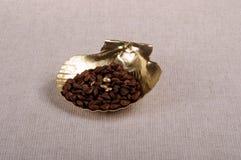 Kaffebönor och guld- skal Royaltyfri Bild