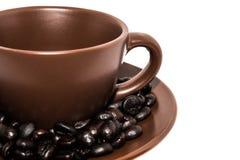 Kaffebönor och kuper Royaltyfri Bild