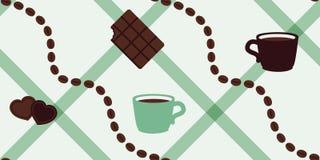 Kaffebönor och modell för vektor för chokladmintkaramellfärg sömlös Arkivfoton