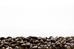Kaffebönor på botten av vit bakgrund, kaffe, arom, kaffemall Royaltyfri Bild