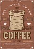 Kaffebönor på den retro affischen för kafeteria eller kafé stock illustrationer