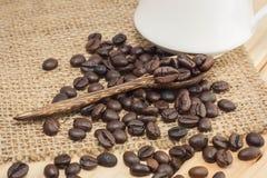 Kaffebönor på en kaffesked Royaltyfria Bilder