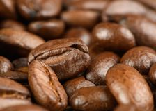 Kaffebönor på en tabell Arkivbilder
