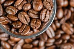 Kaffebönor på en tabell i ett exponeringsglas Fotografering för Bildbyråer