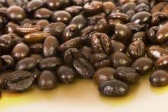 Kaffebönor på guld- royaltyfri foto