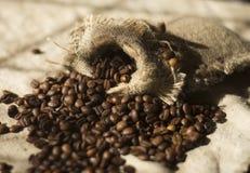 Kaffebönor på kanfasen på tabellen Royaltyfri Foto