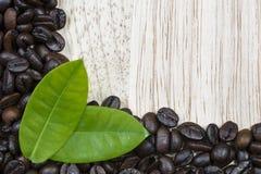 Kaffebönor på wood bakgrund Fotografering för Bildbyråer