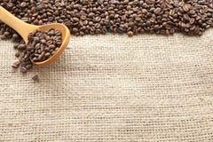 Kaffebönor som ses från över Arkivbild