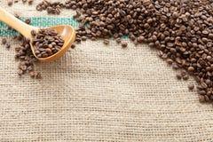 Kaffebönor som ses från över Arkivfoto