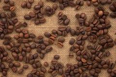 Kaffebönor spridde på burlap Arkivbilder