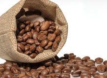 Kaffebönorna i påsen är på den vita bakgrunden Fotografering för Bildbyråer