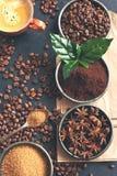 Kaffeb?nor, malt kaffe och kryddor p? m?rk bakgrund fotografering för bildbyråer