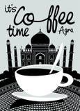 Kaffebaner på bakgrund av indiern Taj Mahal royaltyfri illustrationer