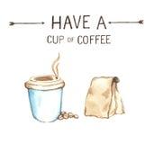 Kaffebeståndsdelar, hög upplösning för vattenfärgmålarfärg Royaltyfri Fotografi