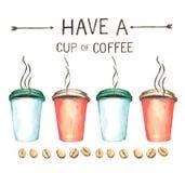 Kaffebeståndsdelar, hög upplösning för vattenfärgmålarfärg Royaltyfria Foton