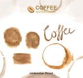 Kaffebeståndsdelar, hög upplösning för vattenfärgmålarfärg Arkivbild