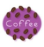 Kaffebönor och kaffetext Royaltyfria Foton