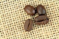 Kaffebönor på en linnesäck Skjuten makro Royaltyfri Fotografi