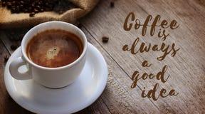 Kaffecitationstecken Arkivbild