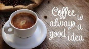 Kaffecitationstecken royaltyfria foton