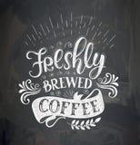 Kaffecitationstecken på kritabrädet stock illustrationer