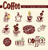 kaffedesignelement Arkivfoto