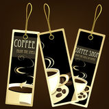 kaffedesignetiketter Arkivbild