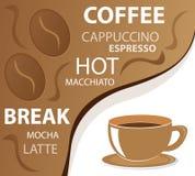 kaffedesignmeny Arkivfoton